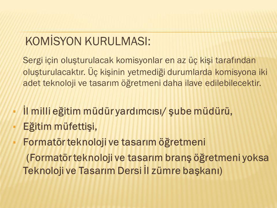 KURULAN KOMİSYONLARIN İLKÖĞRETİM GENEL MÜDÜRLÜĞÜNE BİLDİRİLMESİ 2011 Yılında yapılması planlanan Şimdi Düşünme Zamanı 2011 Teknoloji ve Tasarım Dersi Öğrenci Etkinlikleri Ulusal Sergisi 6-8 Mayıs tarihleri arasında Ankara'da yapılacaktır.