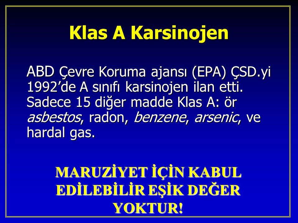 Klas A Karsinojen ABD Çevre Koruma ajansı (EPA) ÇSD.yi 1992'de A sınıfı karsinojen ilan etti. Sadece 15 diğer madde Klas A: ör asbestos, radon, benzen
