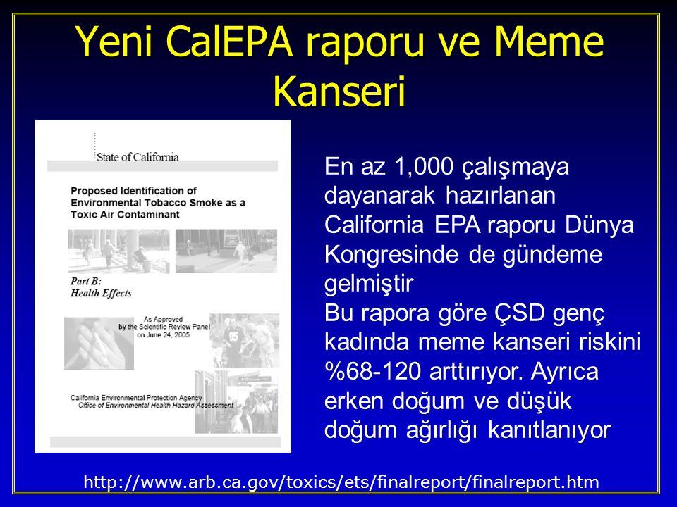 Genç bayanlardaki meme kanserine dair kanıtlar 1986'daki akciğer kanseri kanıtlarından daha güçlü Akciğer Kanseri 1986 11/13 risk artışı 11/13 risk artışı 5 anlamlı 5 anlamlı Kohort çalışmlarının 1/3'ü anlamlı Kohort çalışmlarının 1/3'ü anlamlı –Hirayama*, Garfinkle,Gillis Toksikolojik çalışma yok Toksikolojik çalışma yok Moleküler ep çalışması yok Moleküler ep çalışması yok Meme Kanseri 2006 13/14 risk artışı 13/14 risk artışı 7 anlamlı 7 anlamlı Kohort çalşmalarının 1/3'ü anlamlı Kohort çalşmalarının 1/3'ü anlamlı –Hanaoka*, Reynolds, Wartenberg Toksikoloji pozitif Toksikoloji pozitif Moleküler epi var Moleküler epi var http://www.arb.ca.gov/toxics/ets/finalreport/finalreport.htm