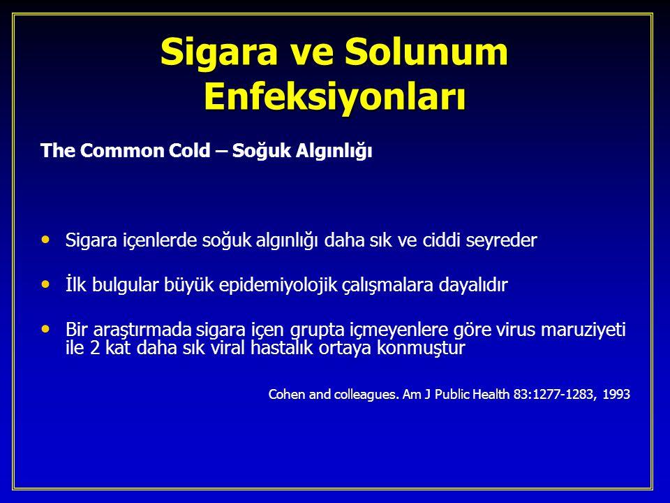 Sigara ve Solunum Enfeksiyonları The Common Cold – Soğuk Algınlığı Sigara içenlerde soğuk algınlığı daha sık ve ciddi seyreder Sigara içenlerde soğuk