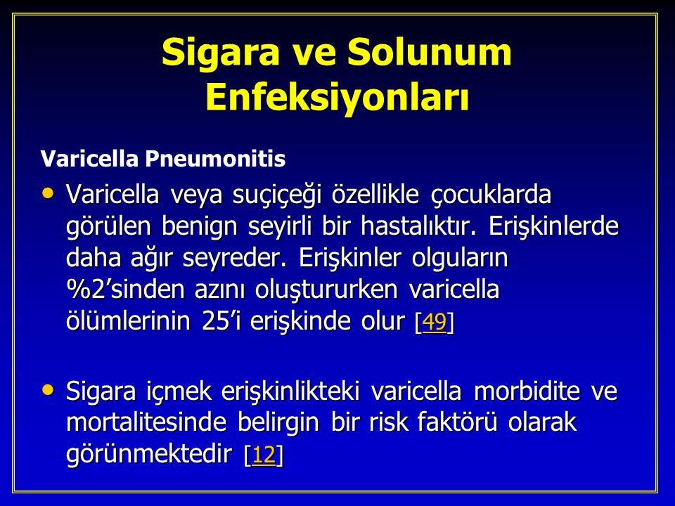 Sigara ve Solunum Enfeksiyonları Varicella Pneumonitis Varicella veya suçiçeği özellikle çocuklarda görülen benign seyirli bir hastalıktır. Erişkinler