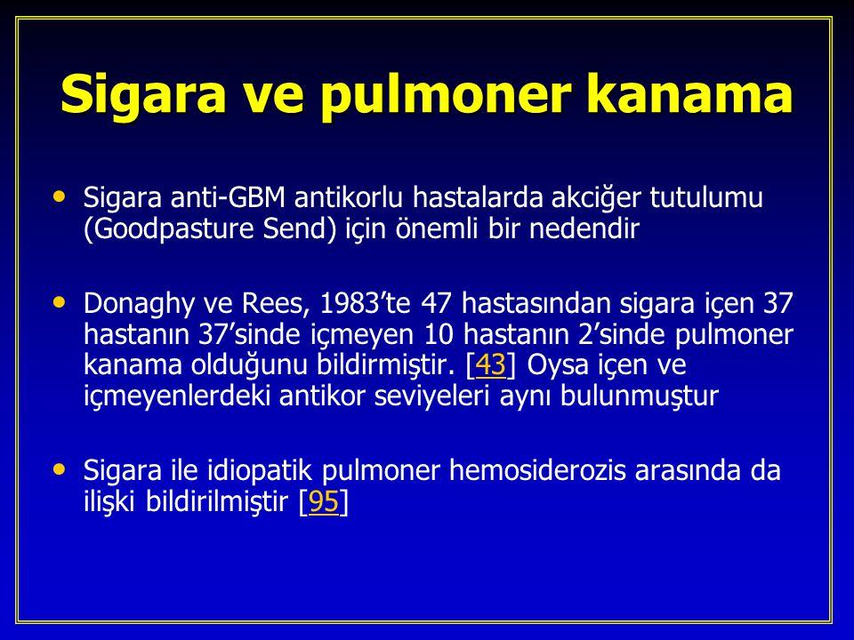 Sigara ve pulmoner kanama Sigara anti-GBM antikorlu hastalarda akciğer tutulumu (Goodpasture Send) için önemli bir nedendir Donaghy ve Rees, 1983'te 4