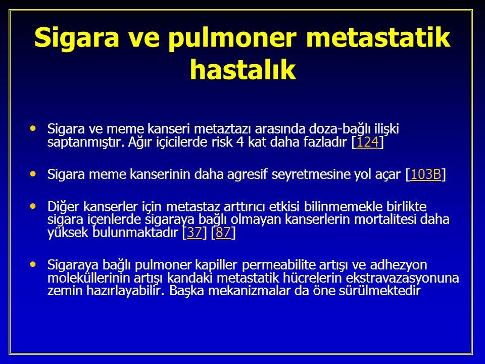Sigara ve pulmoner metastatik hastalık Sigara ve meme kanseri metaztazı arasında doza-bağlı ilişki saptanmıştır. Ağır içicilerde risk 4 kat daha fazla