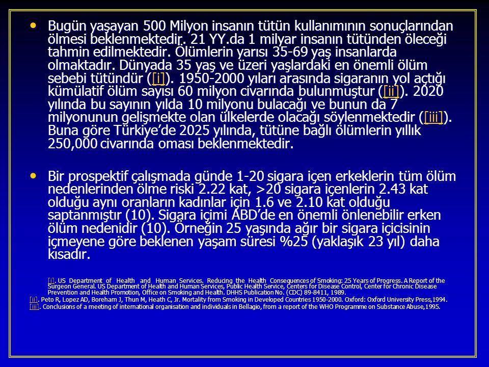 Türkiye'de her yıl yaklaşık 110 bin kişi sigara nedeniyle hayatını kaybetmektedir.