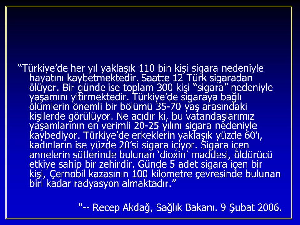 """""""Türkiye'de her yıl yaklaşık 110 bin kişi sigara nedeniyle hayatını kaybetmektedir. Saatte 12 Türk sigaradan ölüyor. Bir günde ise toplam 300 kişi """"si"""