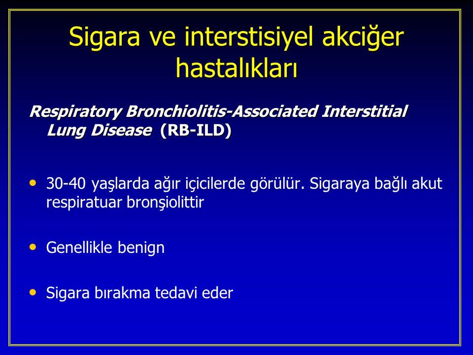 Sigara ve interstisiyel akciğer hastalıkları Idiopatik Pulmoner Fibrozis 50-60 yaşlarda sık görülür Sigara ile ilişkisinden kuşkulanılmaktadır [17] [27] [74] [76]17277476 Sigara için OR 1.6 - 2.9 [17] [74] [76]177476 Doğal gidiş BAL hücre popülasyonu Steroide yanıt …..