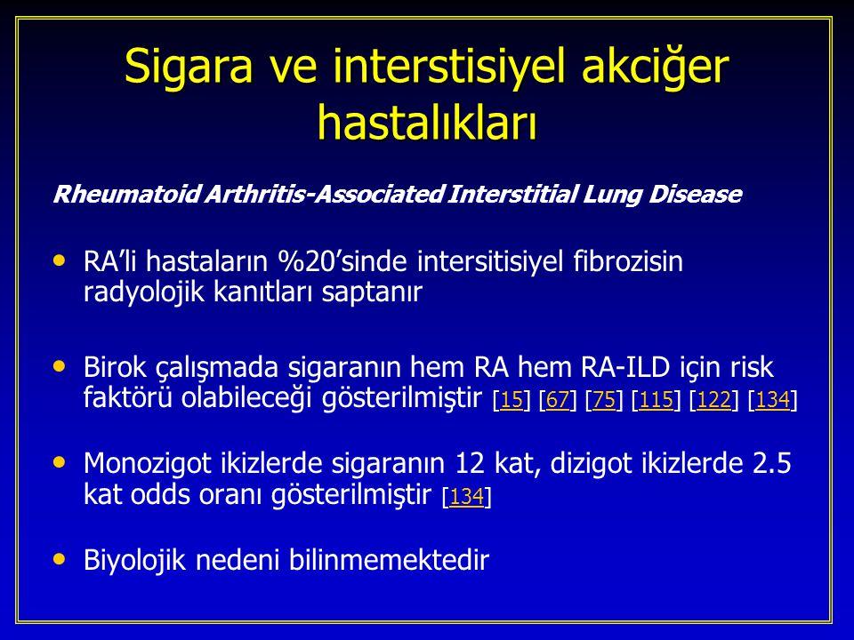 Hypersensitivite Pnömoniti – ekstrensek allerjik alveolit Sigara içimi presipitan antikor gelişimi ve semptomatik hipersensitivite pnömonitisinden koruyor gibi görünmektedir Sigara içimi presipitan antikor gelişimi ve semptomatik hipersensitivite pnömonitisinden koruyor gibi görünmektedir Çiftçi akciğeri, kuş besleyicisi akciğeri sigara içenlerde daha azdır Çiftçi akciğeri, kuş besleyicisi akciğeri sigara içenlerde daha azdır Koruyucu mekanizma bilinmemektedir.