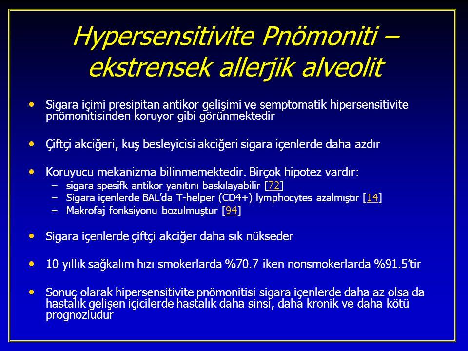 Hypersensitivite Pnömoniti – ekstrensek allerjik alveolit Sigara içimi presipitan antikor gelişimi ve semptomatik hipersensitivite pnömonitisinden kor