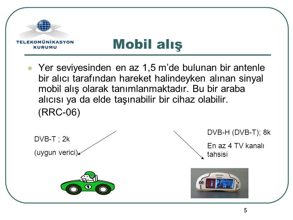 6 DVB-T Frekans Planı - E min ve E med Değerleri (%95) - 200 MHz (Bant III) 500 MHz (Bant IV) 800 MHz (Bant V) Sabit AlışEmin (dBµV/m)404547 Emed (dBµV/m)495456 Portatif /Bina içi alışEmin (dBµV/m)465357 Emed (dBµV/m)799096 Min.