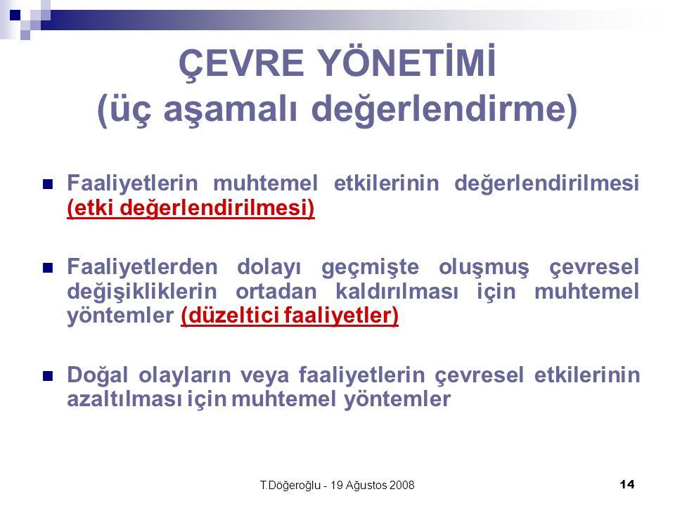 T.Döğeroğlu - 19 Ağustos 200814 ÇEVRE YÖNETİMİ (üç aşamalı değerlendirme) Faaliyetlerin muhtemel etkilerinin değerlendirilmesi (etki değerlendirilmesi