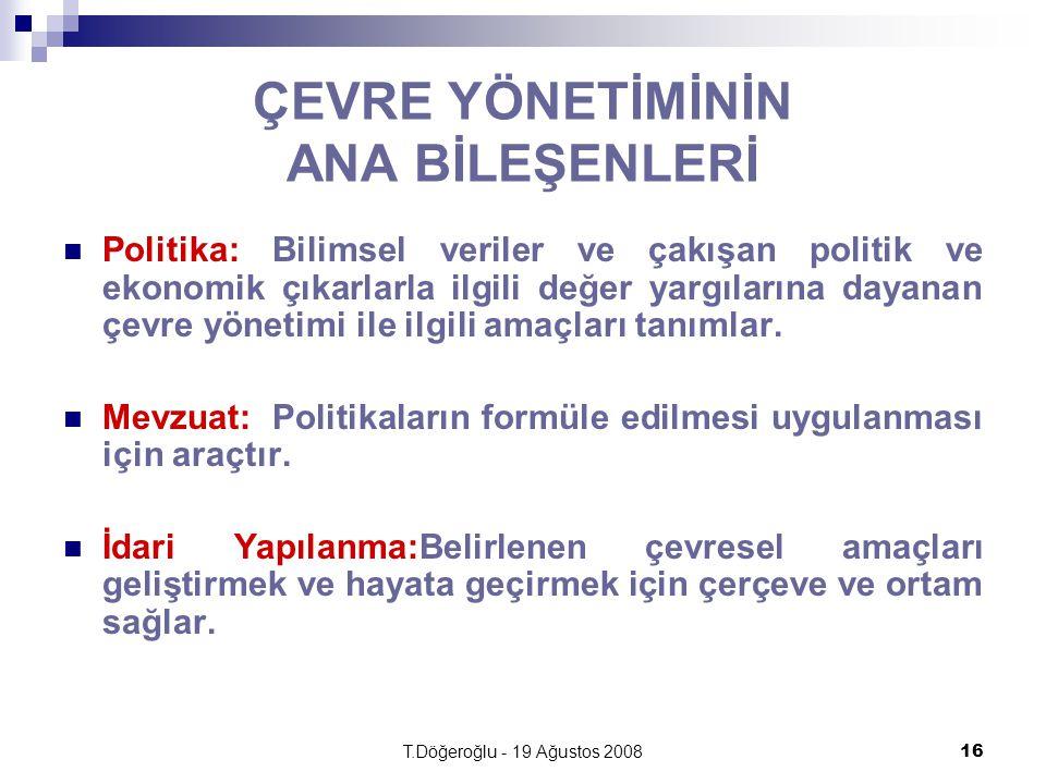 T.Döğeroğlu - 19 Ağustos 200816 ÇEVRE YÖNETİMİNİN ANA BİLEŞENLERİ Politika:Bilimsel veriler ve çakışan politik ve ekonomik çıkarlarla ilgili değer yargılarına dayanan çevre yönetimi ile ilgili amaçları tanımlar.