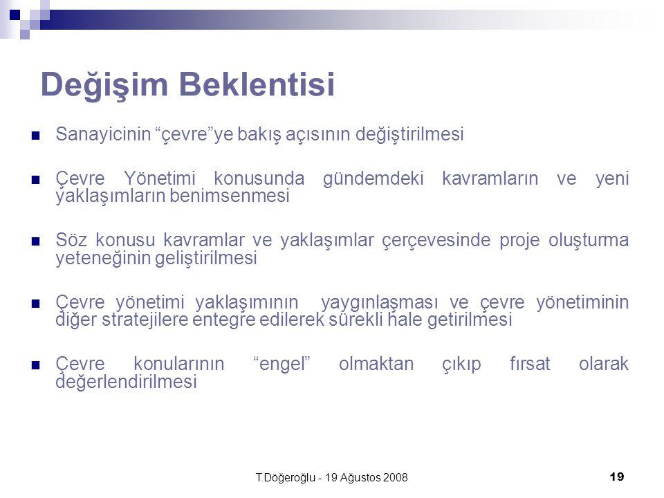 T.Döğeroğlu - 19 Ağustos 200819 Değişim Beklentisi Sanayicinin çevre ye bakış açısının değiştirilmesi Çevre Yönetimi konusunda gündemdeki kavramların ve yeni yaklaşımların benimsenmesi Söz konusu kavramlar ve yaklaşımlar çerçevesinde proje oluşturma yeteneğinin geliştirilmesi Çevre yönetimi yaklaşımının yaygınlaşması ve çevre yönetiminin diğer stratejilere entegre edilerek sürekli hale getirilmesi Çevre konularının engel olmaktan çıkıp fırsat olarak değerlendirilmesi