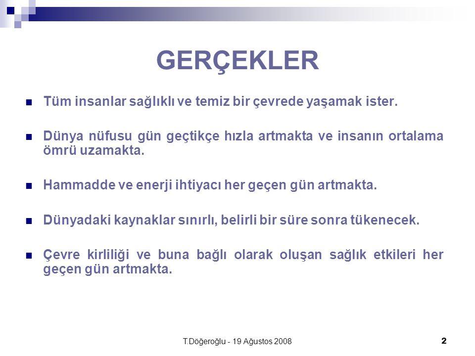 T.Döğeroğlu - 19 Ağustos 20082 GERÇEKLER Tüm insanlar sağlıklı ve temiz bir çevrede yaşamak ister.