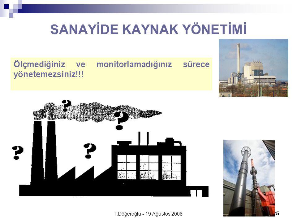 T.Döğeroğlu - 19 Ağustos 200825 SANAYİDE KAYNAK YÖNETİMİ Ölçmediğiniz ve monitorlamadığınız sürece yönetemezsiniz!!!