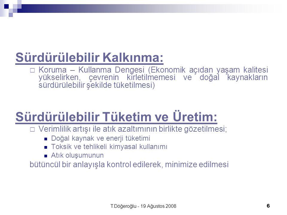T.Döğeroğlu - 19 Ağustos 20086 Sürdürülebilir Kalkınma:  Koruma – Kullanma Dengesi (Ekonomik açıdan yaşam kalitesi yükselirken, çevrenin kirletilmeme