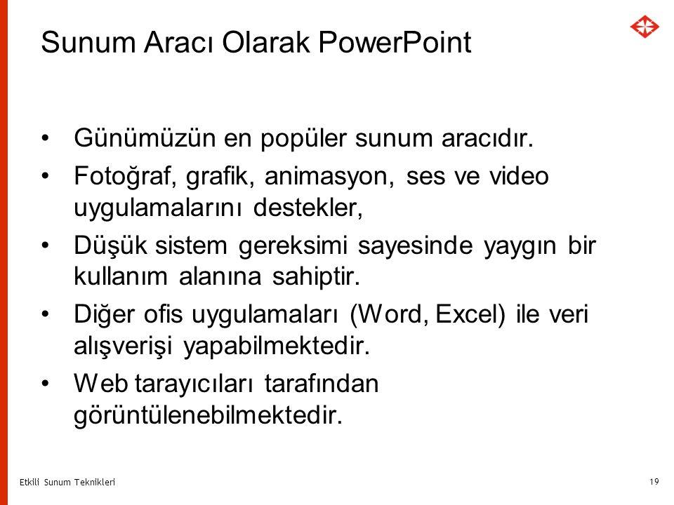 Etkili Sunum Teknikleri 19 Sunum Aracı Olarak PowerPoint Günümüzün en popüler sunum aracıdır. Fotoğraf, grafik, animasyon, ses ve video uygulamalarını