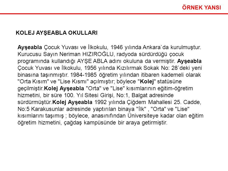 Etkili Sunum Teknikleri 23 ÖRNEK YANSI KOLEJ AYŞEABLA OKULLARI Ayşeabla Çocuk Yuvası ve İlkokulu, 1946 yılında Ankara`da kurulmuştur. Kurucusu Sayın N