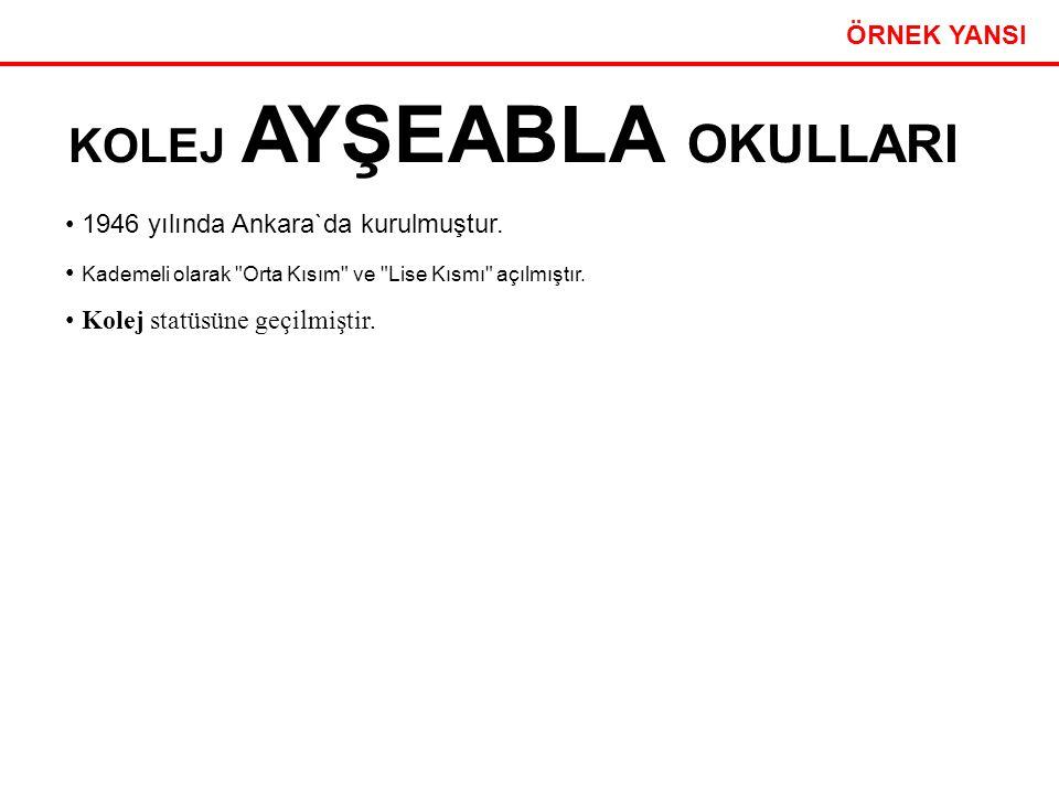 Etkili Sunum Teknikleri 25 ÖRNEK YANSI KOLEJ AYŞEABLA OKULLARI 1946 yılında Ankara`da kurulmuştur. Kademeli olarak