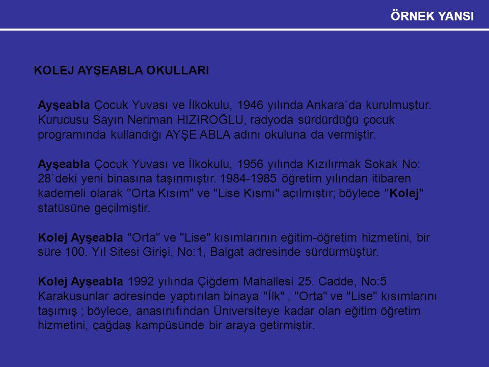 Etkili Sunum Teknikleri 28 ÖRNEK YANSI KOLEJ AYŞEABLA OKULLARI Ayşeabla Çocuk Yuvası ve İlkokulu, 1946 yılında Ankara`da kurulmuştur. Kurucusu Sayın N