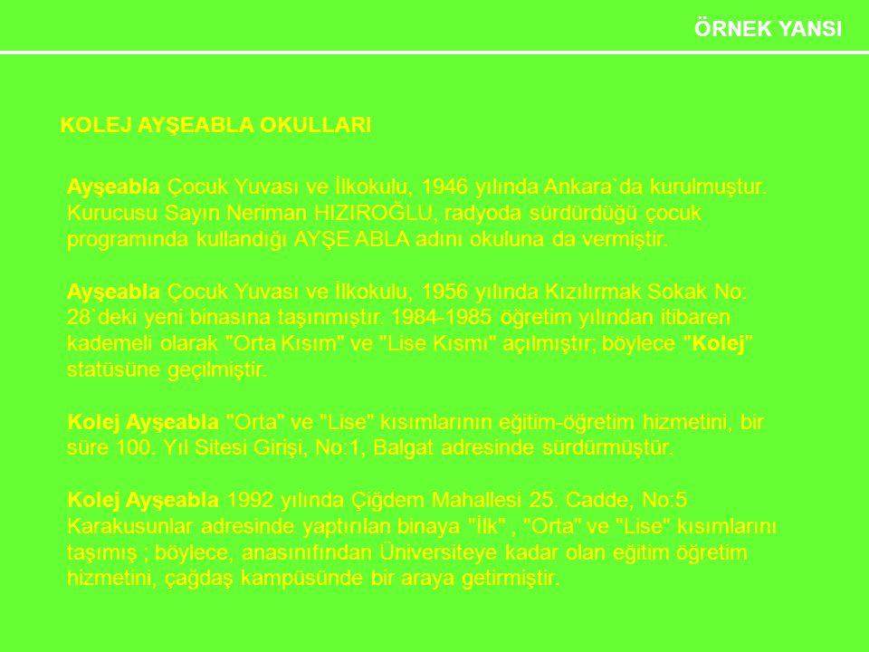 Etkili Sunum Teknikleri 29 ÖRNEK YANSI KOLEJ AYŞEABLA OKULLARI Ayşeabla Çocuk Yuvası ve İlkokulu, 1946 yılında Ankara`da kurulmuştur. Kurucusu Sayın N