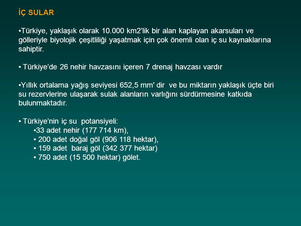 İÇ SULAR Türkiye, yaklaşık olarak 10.000 km2'lik bir alan kaplayan akarsuları ve gölleriyle biyolojik çeşitliliği yaşatmak için çok önemli olan iç su