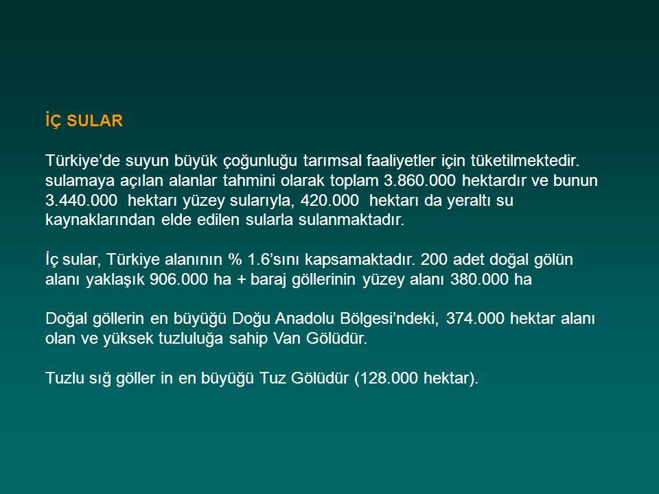 İÇ SULAR Türkiye'de suyun büyük çoğunluğu tarımsal faaliyetler için tüketilmektedir. sulamaya açılan alanlar tahmini olarak toplam 3.860.000 hektardır