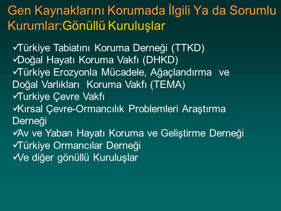 Gen Kaynaklarını Korumada İlgili Ya da Sorumlu Kurumlar:Gönüllü Kuruluşlar Türkiye Tabiatını Koruma Derneği (TTKD) Doğal Hayatı Koruma Vakfı (DHKD) Tü
