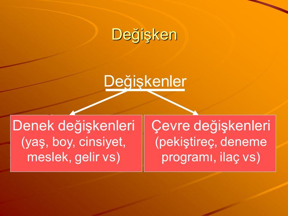 Değişken Değişkenler Denek değişkenleri (yaş, boy, cinsiyet, meslek, gelir vs) Çevre değişkenleri (pekiştireç, deneme programı, ilaç vs)