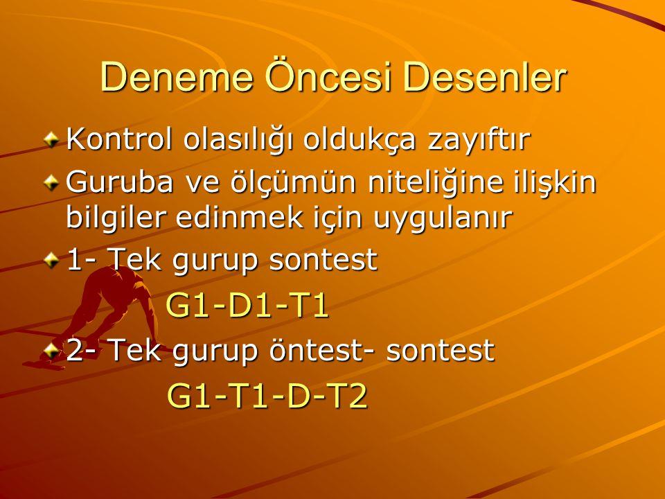 Deneme Öncesi Desenler Kontrol olasılığı oldukça zayıftır Guruba ve ölçümün niteliğine ilişkin bilgiler edinmek için uygulanır 1- Tek gurup sontest G1-D1-T1 G1-D1-T1 2- Tek gurup öntest- sontest G1-T1-D-T2 G1-T1-D-T2