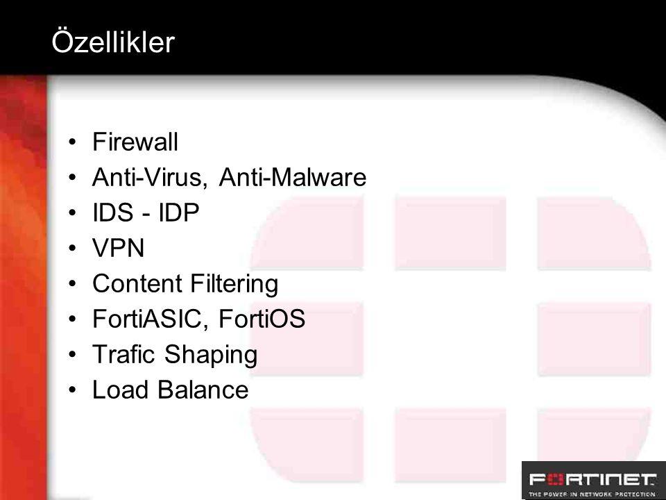 Özellikler Firewall Anti-Virus, Anti-Malware IDS - IDP VPN Content Filtering FortiASIC, FortiOS Trafic Shaping Load Balance