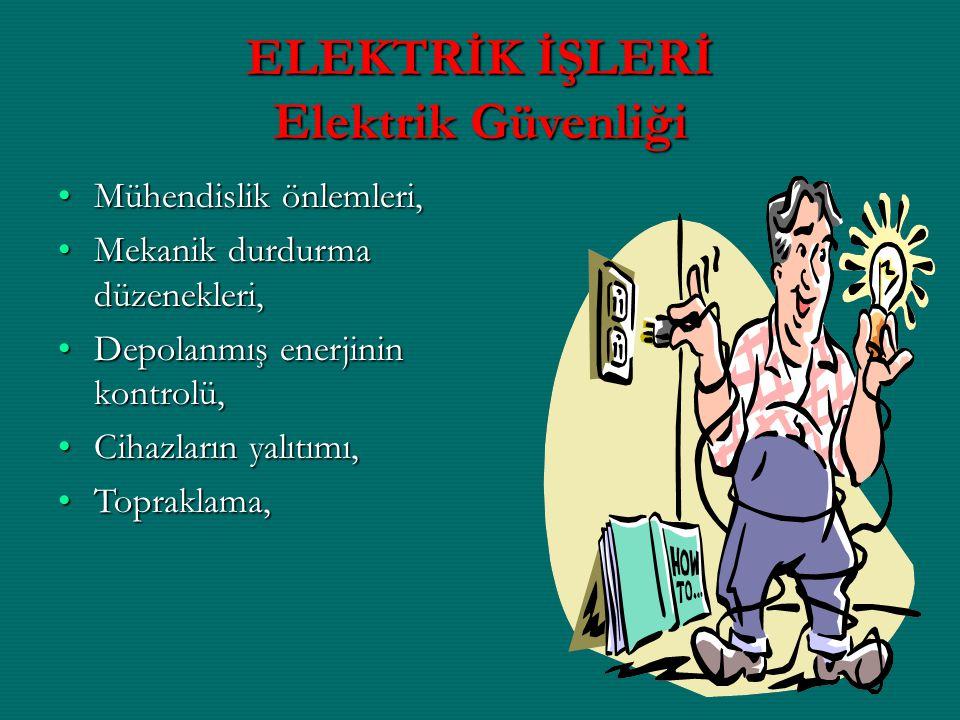 ELEKTRİK İŞLERİ Elektrik Güvenliği Mühendislik önlemleri,Mühendislik önlemleri, Mekanik durdurma düzenekleri,Mekanik durdurma düzenekleri, Depolanmış