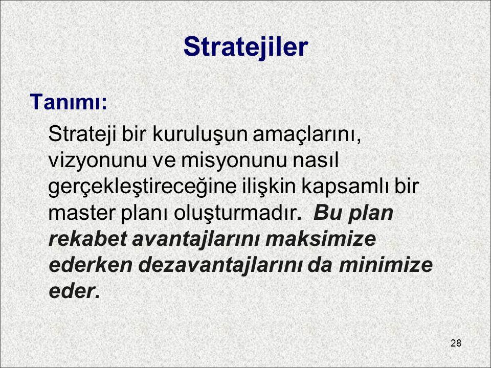 Stratejiler Tanımı: Strateji bir kuruluşun amaçlarını, vizyonunu ve misyonunu nasıl gerçekleştireceğine ilişkin kapsamlı bir master planı oluşturmadır