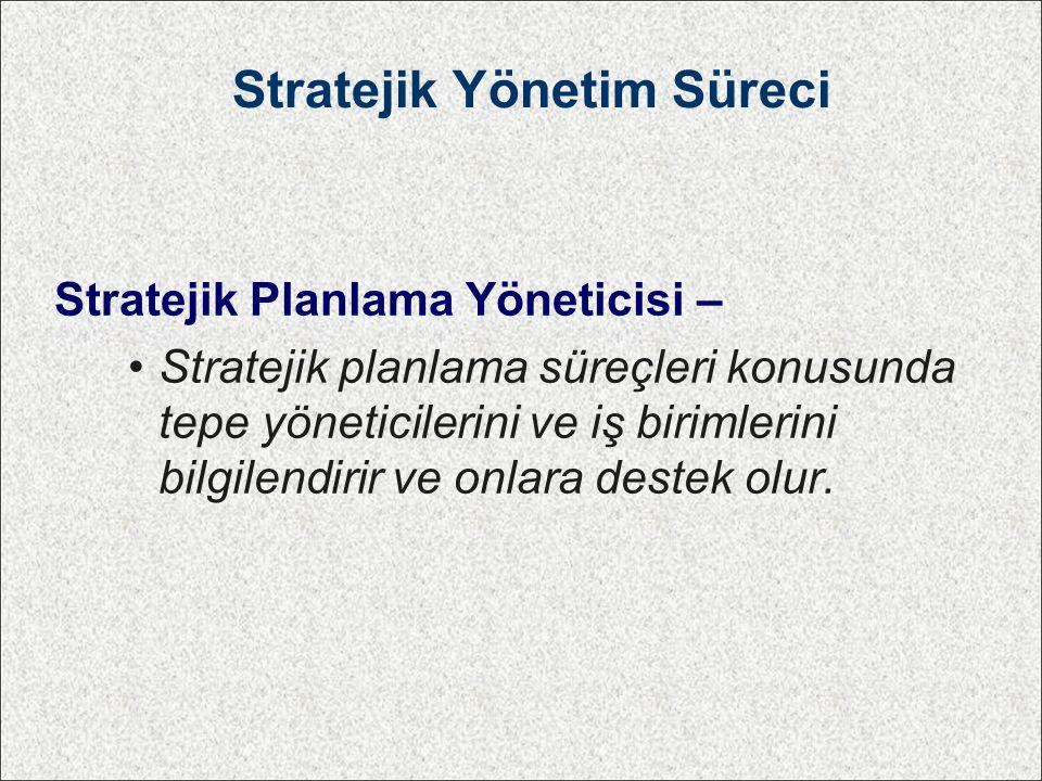 Stratejik Yönetim Süreci Stratejik Planlama Yöneticisi – Stratejik planlama süreçleri konusunda tepe yöneticilerini ve iş birimlerini bilgilendirir ve onlara destek olur.