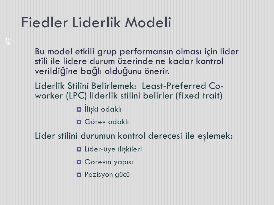 Fiedler Liderlik Modeli 11- 10 Bu model etkili grup performansın olması için lider stili ile lidere durum üzerinde ne kadar kontrol verildi ğ ine ba ğ