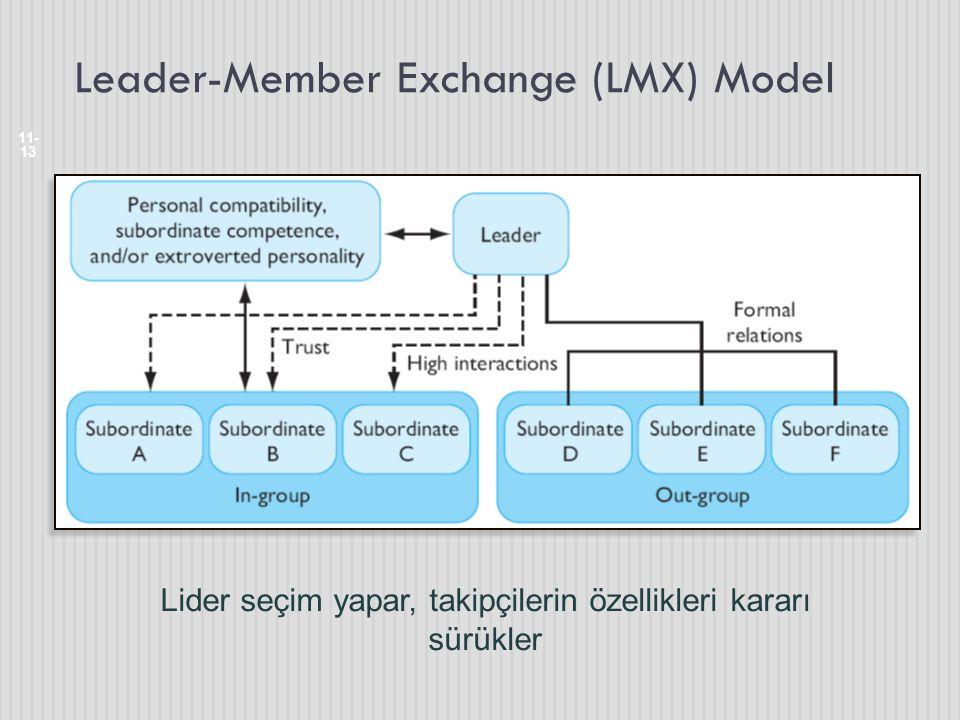 Leader-Member Exchange (LMX) Model 11- 13 Lider seçim yapar, takipçilerin özellikleri kararı sürükler