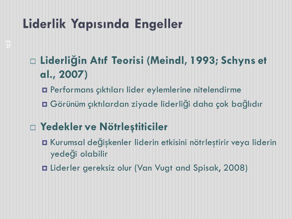 Liderlik Yapısında Engeller 11- 27  Liderli ğ in Atıf Teorisi (Meindl, 1993; Schyns et al., 2007)  Performans çıktıları lider eylemlerine nitelendir