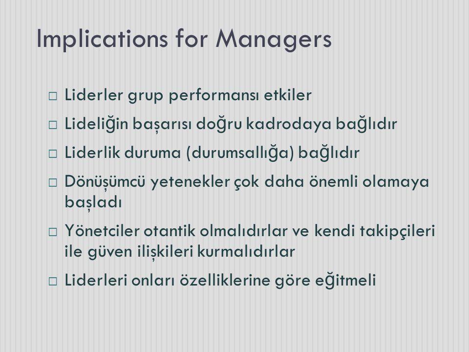 Implications for Managers  Liderler grup performansı etkiler  Lideli ğ in başarısı do ğ ru kadrodaya ba ğ lıdır  Liderlik duruma (durumsallı ğ a) ba ğ lıdır  Dönüşümcü yetenekler çok daha önemli olamaya başladı  Yönetciler otantik olmalıdırlar ve kendi takipçileri ile güven ilişkileri kurmalıdırlar  Liderleri onları özelliklerine göre e ğ itmeli