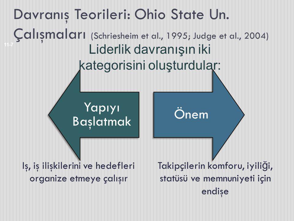 Davranış Teorileri: Ohio State Un. Çalışmaları (Schriesheim et al., 1995; Judge et al., 2004) Iş, iş ilişkilerini ve hedefleri organize etmeye çalışır