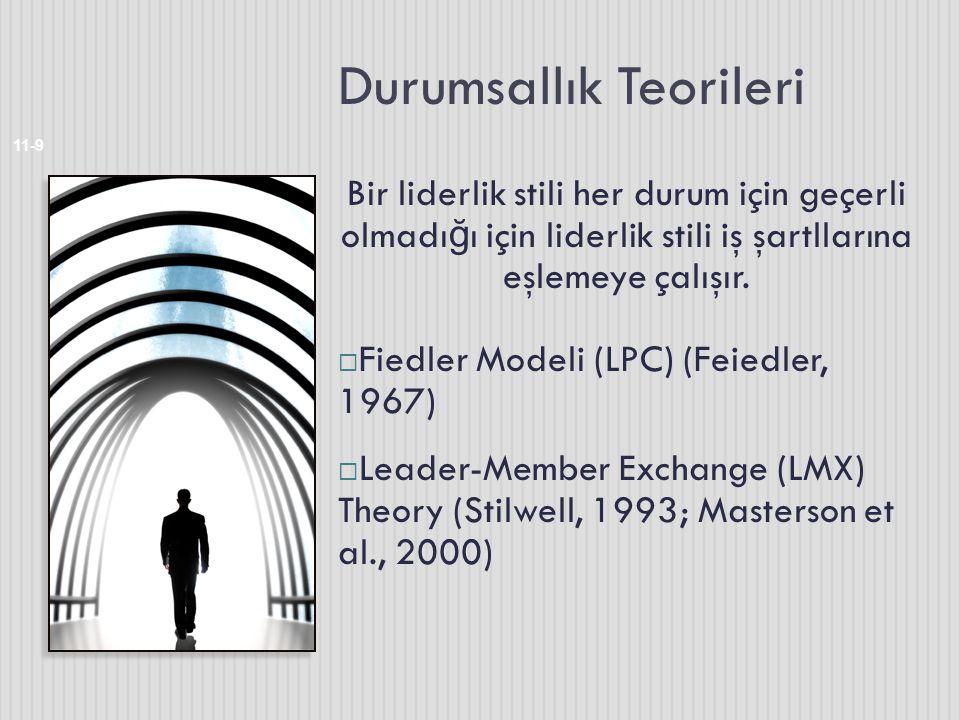 Durumsallık Teorileri 11-9 Bir liderlik stili her durum için geçerli olmadı ğ ı için liderlik stili iş şartllarına eşlemeye çalışır.