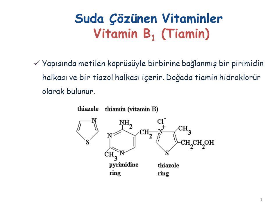 Suda Çözünen Vitaminler Vitamin B 1 (Tiamin) Yapısında metilen köprüsüyle birbirine bağlanmış bir pirimidin halkası ve bir tiazol halkası içerir. Doğa