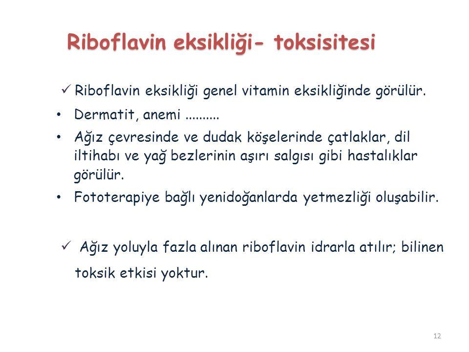 Riboflavin eksikliği genel vitamin eksikliğinde görülür. Dermatit, anemi.......... Ağız çevresinde ve dudak köşelerinde çatlaklar, dil iltihabı ve yağ
