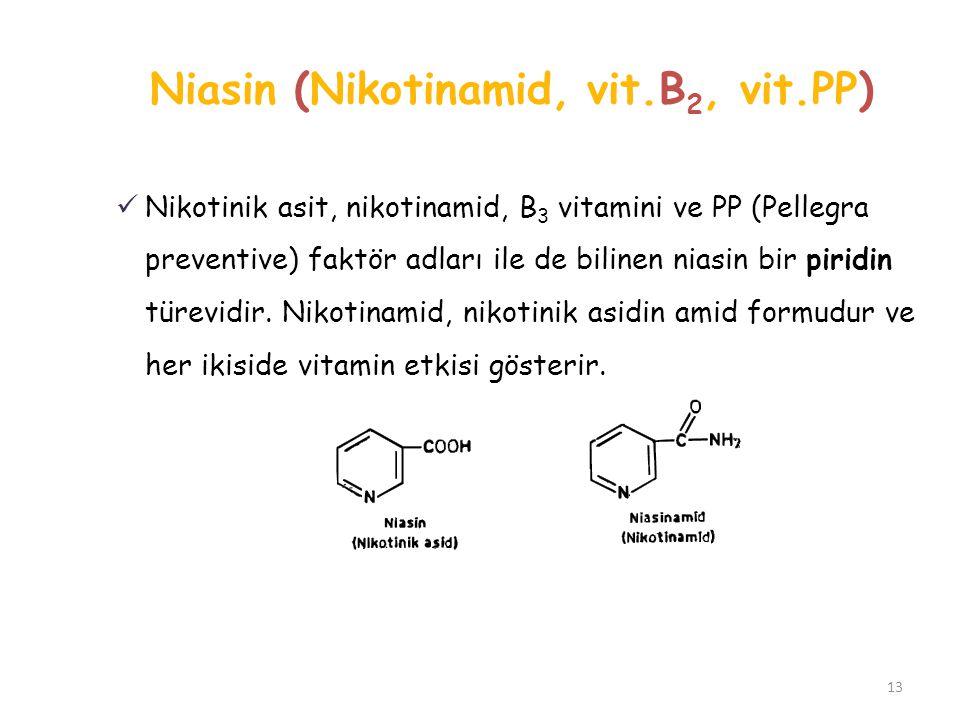 Niasin (Nikotinamid, vit.B 2, vit.PP) Nikotinik asit, nikotinamid, B 3 vitamini ve PP (Pellegra preventive) faktör adları ile de bilinen niasin bir pi