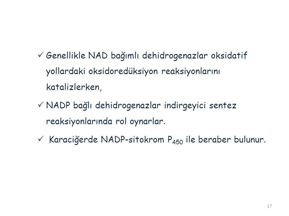 17 Genellikle NAD bağımlı dehidrogenazlar oksidatif yollardaki oksidoredüksiyon reaksiyonlarını katalizlerken, NADP bağlı dehidrogenazlar indirgeyici