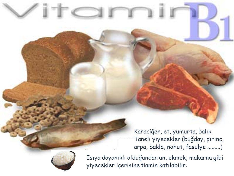 Karaciğer, et, yumurta, balık Taneli yiyecekler (buğday, pirinç, arpa, bakla, nohut, fasulye.........) Isıya dayanıklı olduğundan un, ekmek, makarna g
