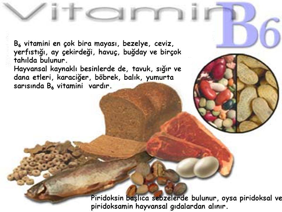 B 6 vitamini en çok bira mayası, bezelye, ceviz, yerfıstığı, ay çekirdeği, havuç, buğday ve birçok tahılda bulunur. Hayvansal kaynaklı besinlerde de,