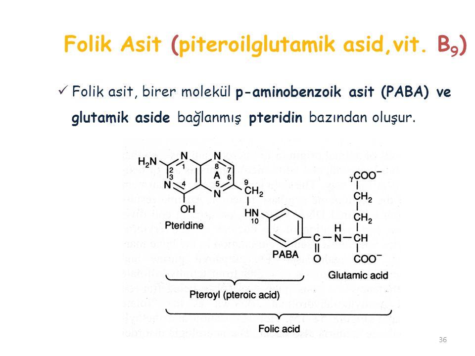 Folik Asit (piteroilglutamik asid,vit. B 9 ) 36 Folik asit, birer molekül p-aminobenzoik asit (PABA) ve glutamik aside bağlanmış pteridin bazından olu