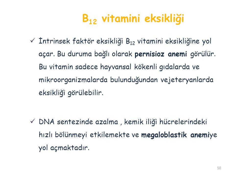 B 12 vitamini eksikliği İntrinsek faktör eksikliği B 12 vitamini eksikliğine yol açar. Bu duruma bağlı olarak pernisioz anemi görülür. Bu vitamin sade