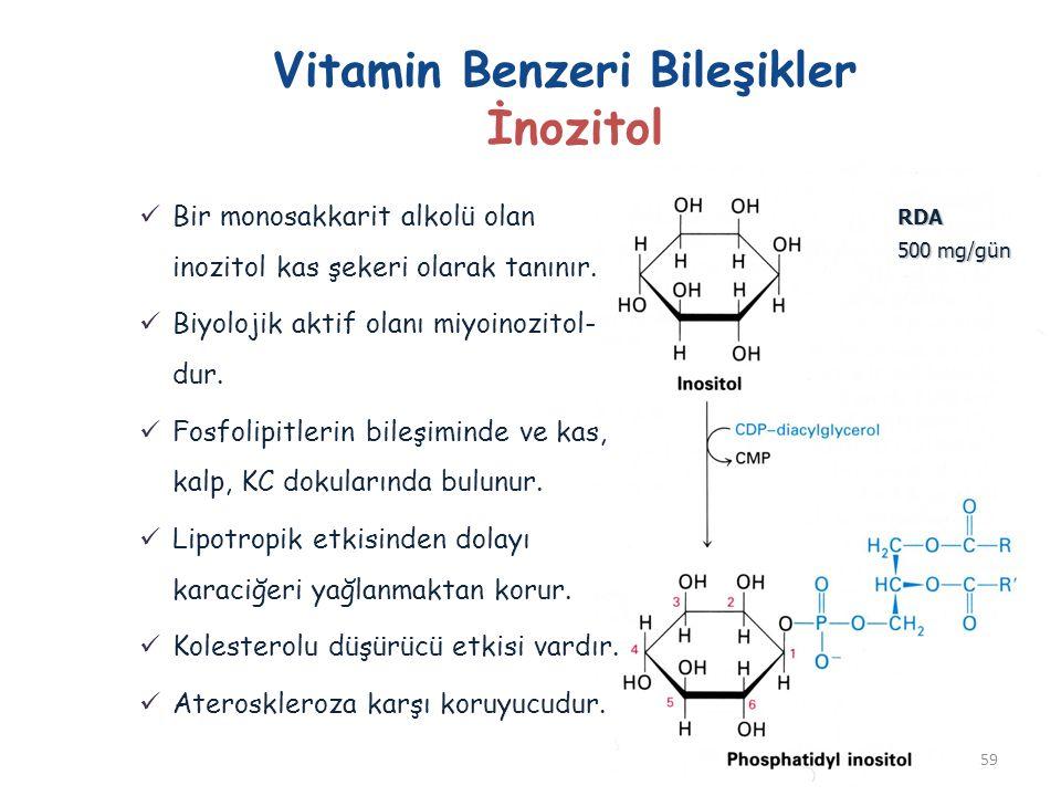 Vitamin Benzeri Bileşikler İnozitol Bir monosakkarit alkolü olan inozitol kas şekeri olarak tanınır. Biyolojik aktif olanı miyoinozitol- dur. Fosfolip