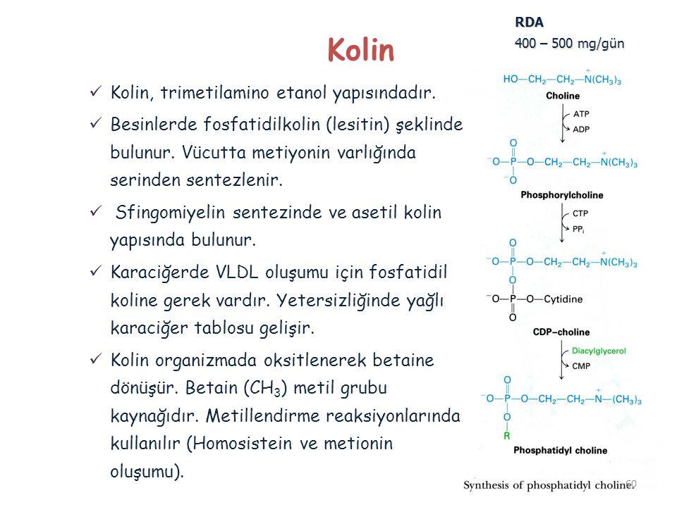 Kolin Kolin, trimetilamino etanol yapısındadır. Besinlerde fosfatidilkolin (lesitin) şeklinde bulunur. Vücutta metiyonin varlığında serinden sentezlen