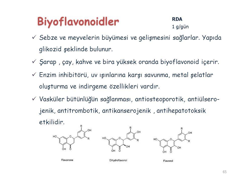 Sebze ve meyvelerin büyümesi ve gelişmesini sağlarlar. Yapıda glikozid şeklinde bulunur. Şarap, çay, kahve ve bira yüksek oranda biyoflavonoid içerir.